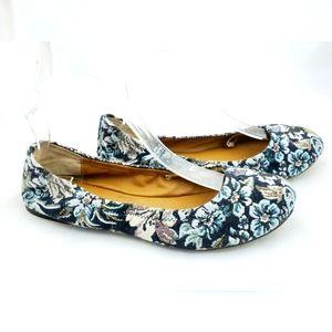 Lucky Brand Floral Ballet Flats 9.5 Blues